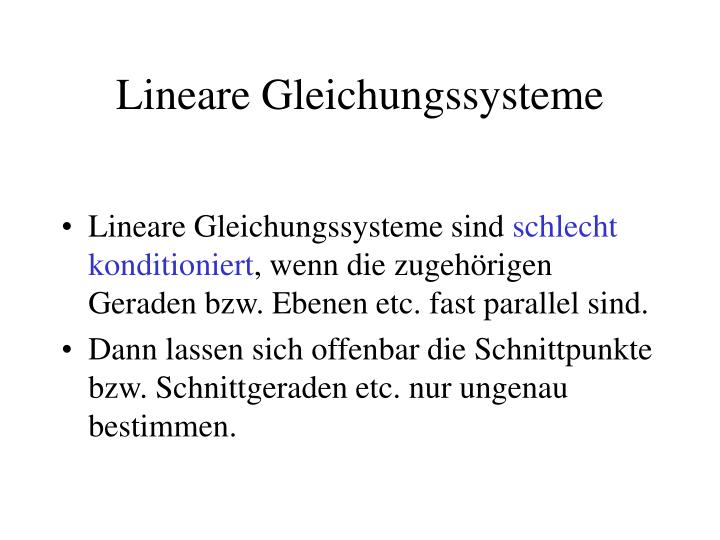 Lineare Gleichungssysteme