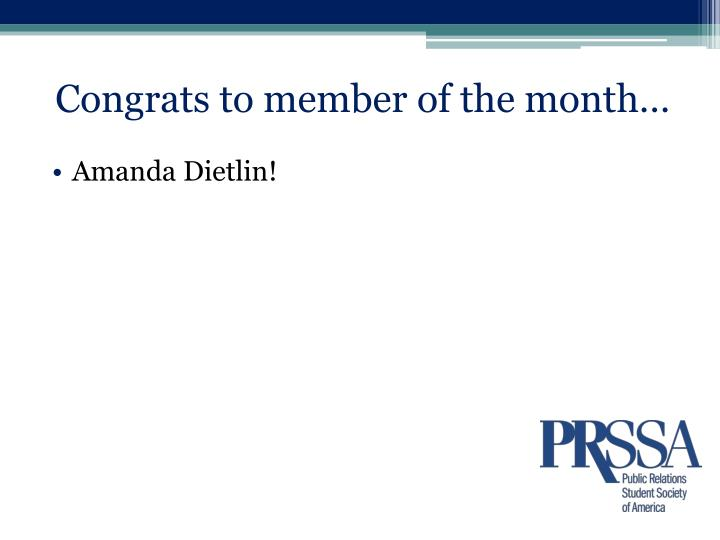 Congrats to member of the month…