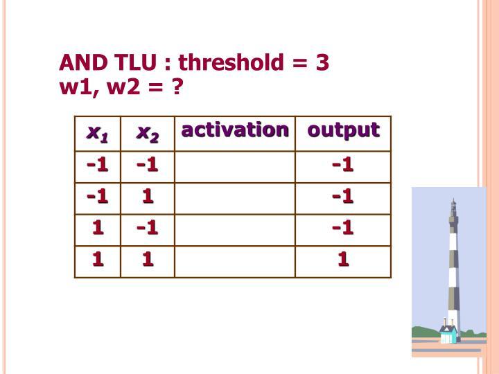 AND TLU : threshold = 3