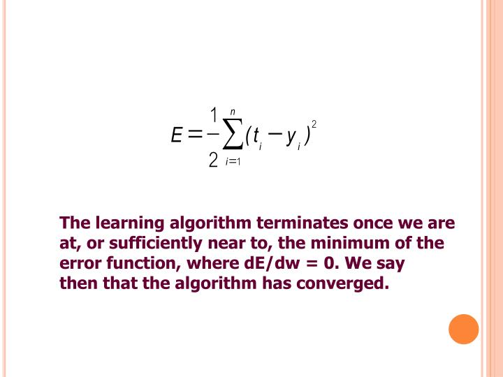 The learning algorithm terminates once we are