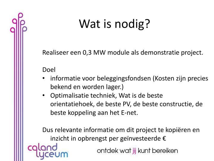 Realiseer een 0,3 MW module als demonstratie project.
