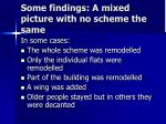 some findings a mixed picture with no scheme the same