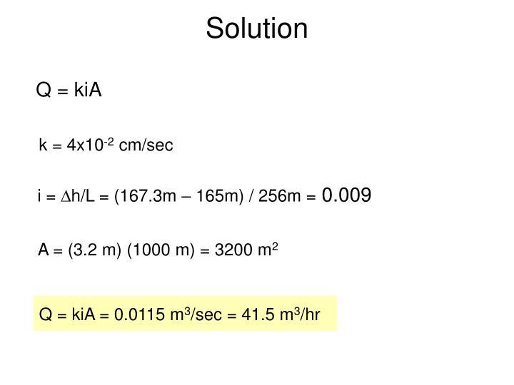 Q = kiA = 0.0115 m