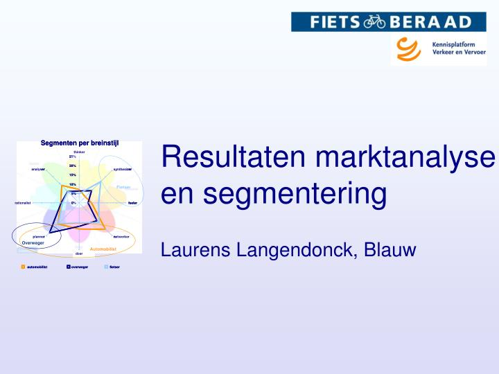 Resultaten marktanalyse en segmentering