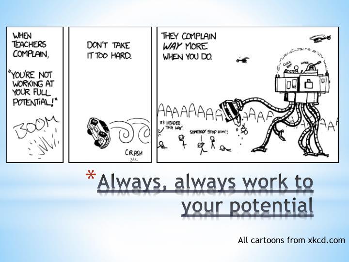 Always, always work to your