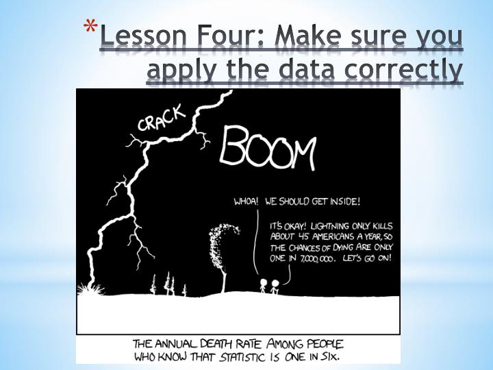 Lesson Four: Make sure you apply the data correctly