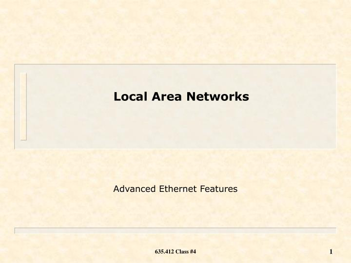advanced ethernet features n.