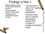 findings in year 1