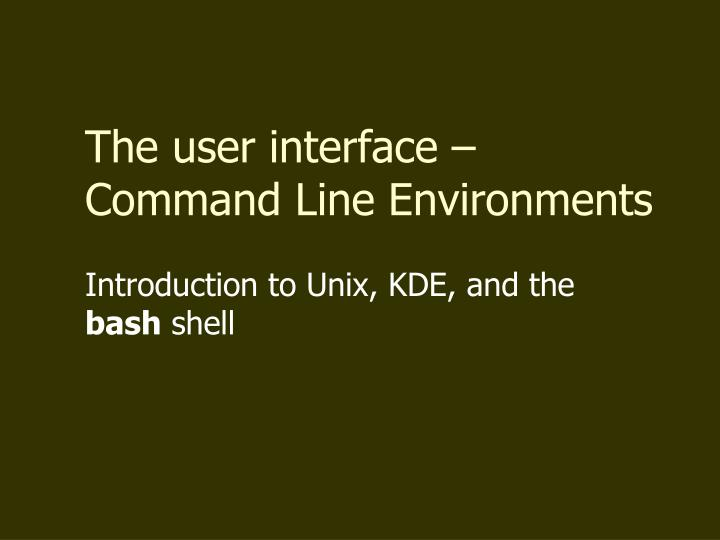 introduction to unix kde and the bash shell n.