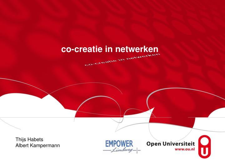 Co creatie in netwerken