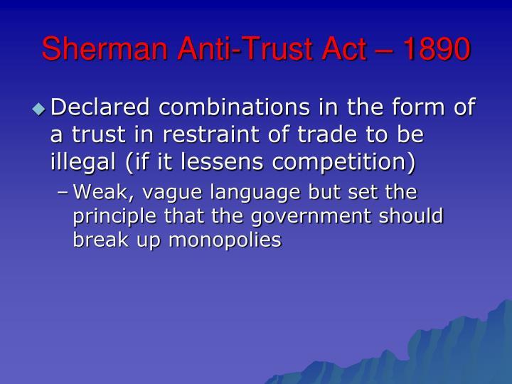 Sherman Anti-Trust Act – 1890