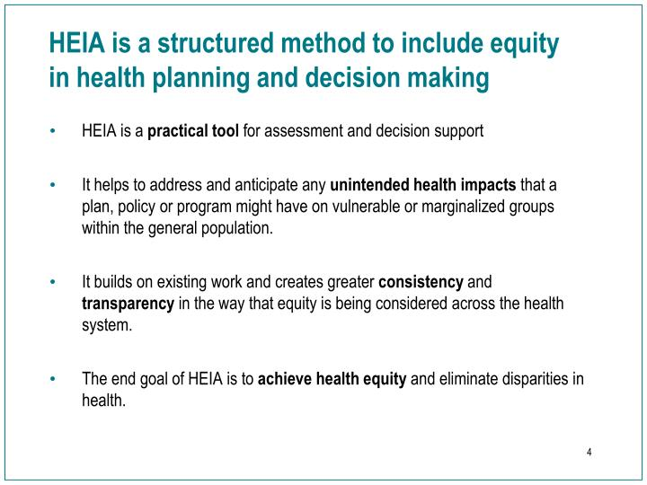 HEIA is a structured method to include equity in health planning and decision making