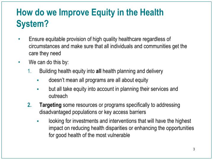 How do we improve equity in the health system