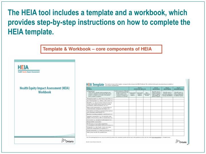 The HEIA tool includes a template and a workbook, which provides step-by-step instructions on how to complete the HEIA template.