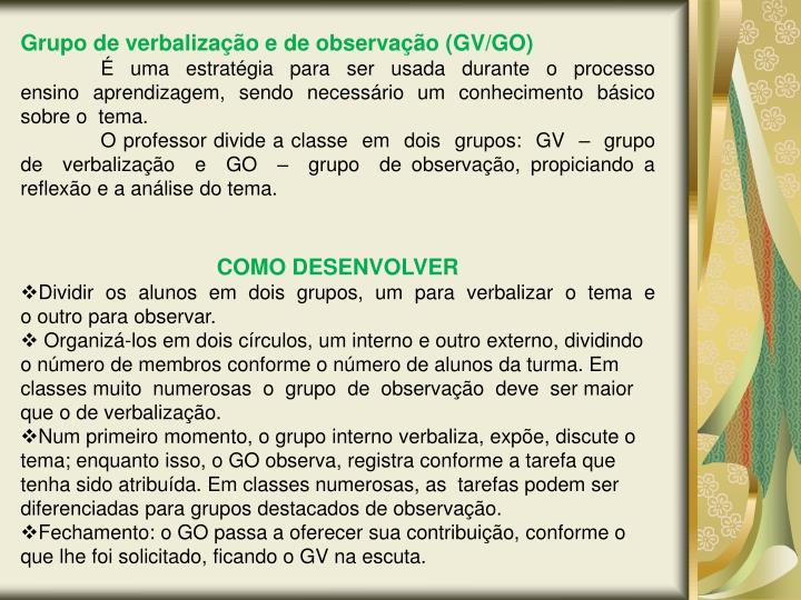 Grupo de verbalização e de observação (GV/GO)