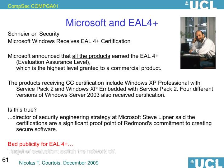 Microsoft and EAL4+