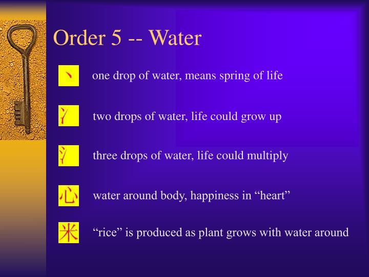 Order 5 -- Water