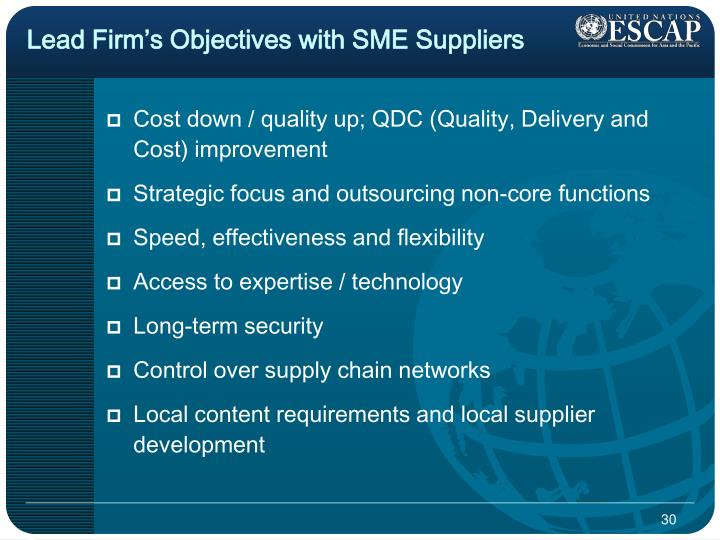Lead Firm's Objectives with SME Suppliers