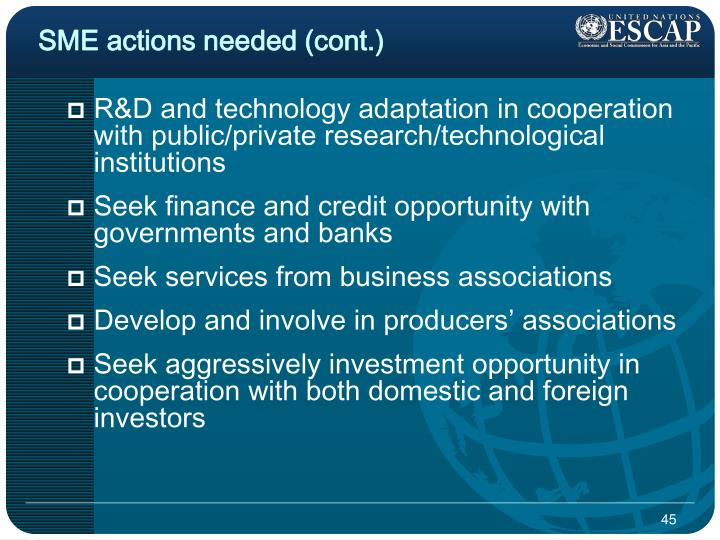 SME actions needed (cont.)