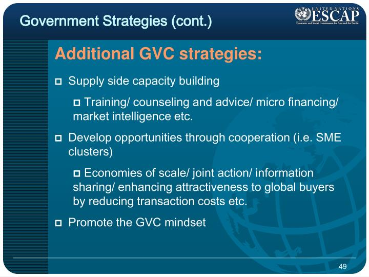 Government Strategies (cont.)