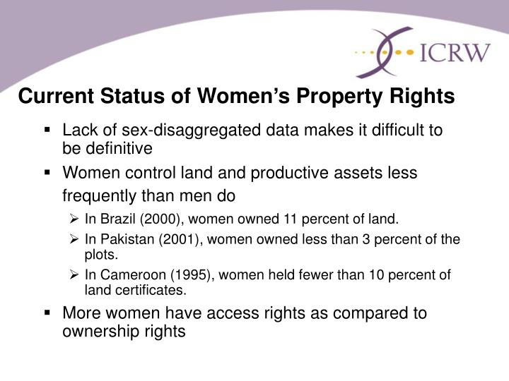 Current Status of Women's Property Rights