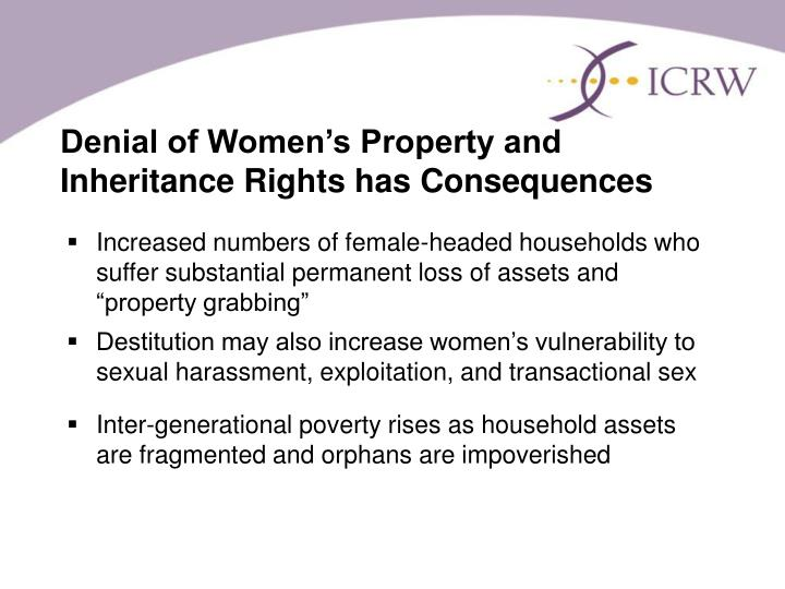 Denial of Women's Property and Inheritance Rights has Consequences