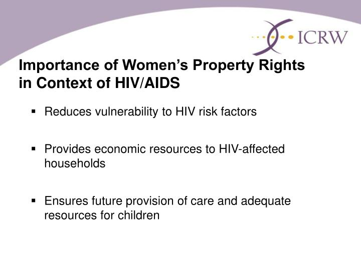Importance of Women's Property Rights in Context of HIV/AIDS