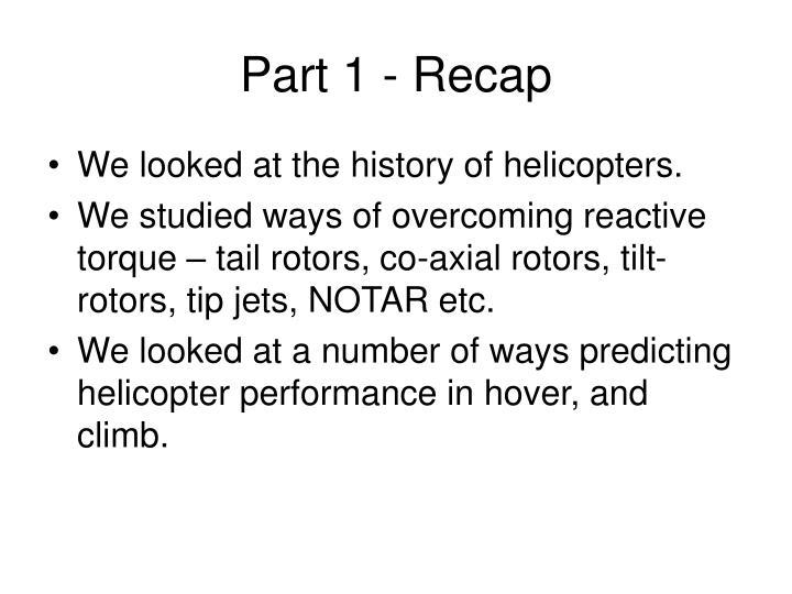 Part 1 recap