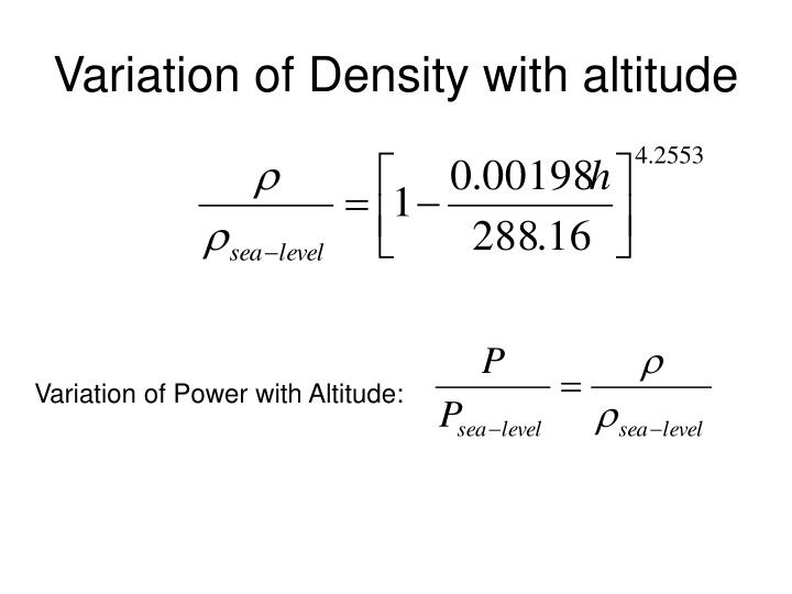 Variation of Density with altitude