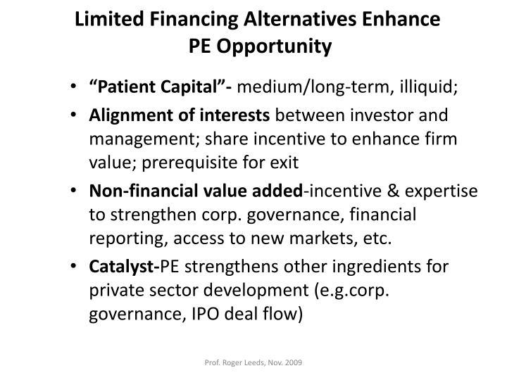 Limited Financing Alternatives Enhance