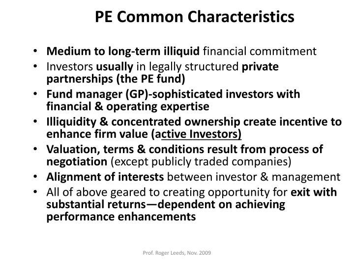 Pe common characteristics