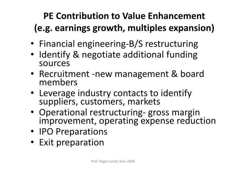 PE Contribution to Value Enhancement