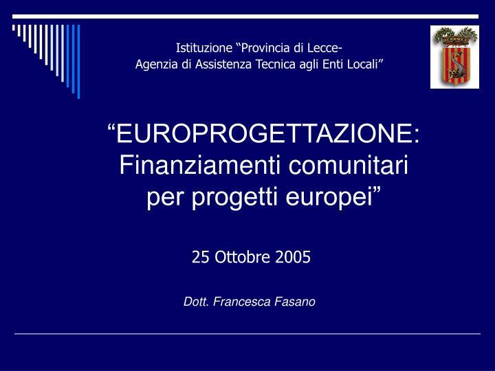 europrogettazione finanziamenti comunitari per progetti europei n.