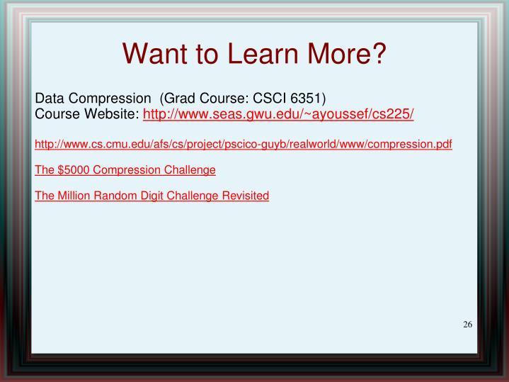 Data Compression  (Grad Course: CSCI 6351)