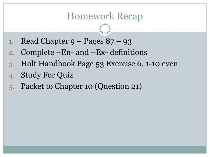 Homework Recap