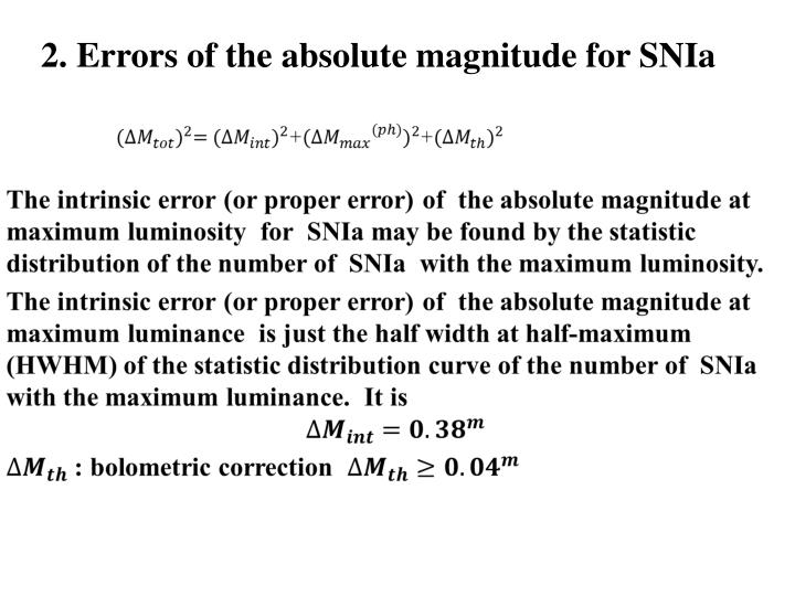 2. Errors of the absolute magnitude for SNIa