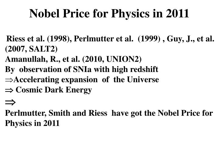 Nobel Price for Physics in 2011