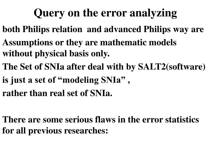 Query on the error analyzing