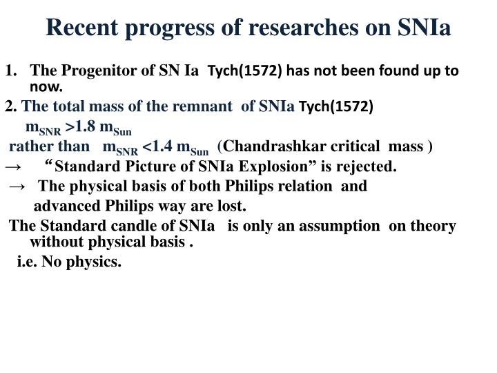 Recent progress of researches on SNIa