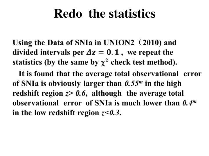 Redo  the statistics