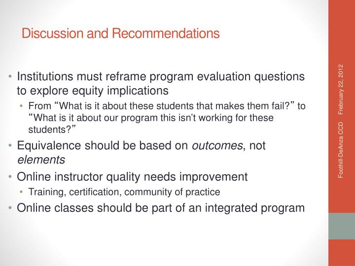 Institutions must reframe program evaluation questions to explore equity implications