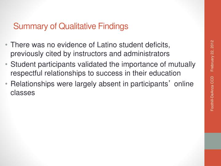 There was no evidence of Latino student deficits, previously cited by instructors and administrators