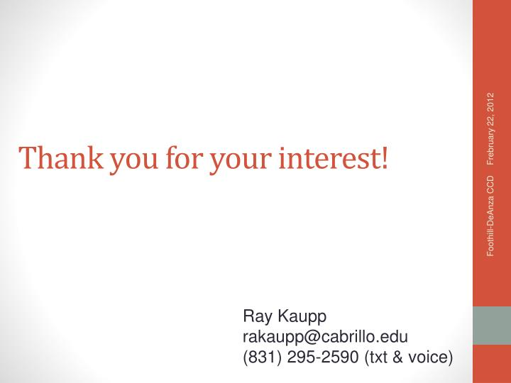 Thank you for your interest!
