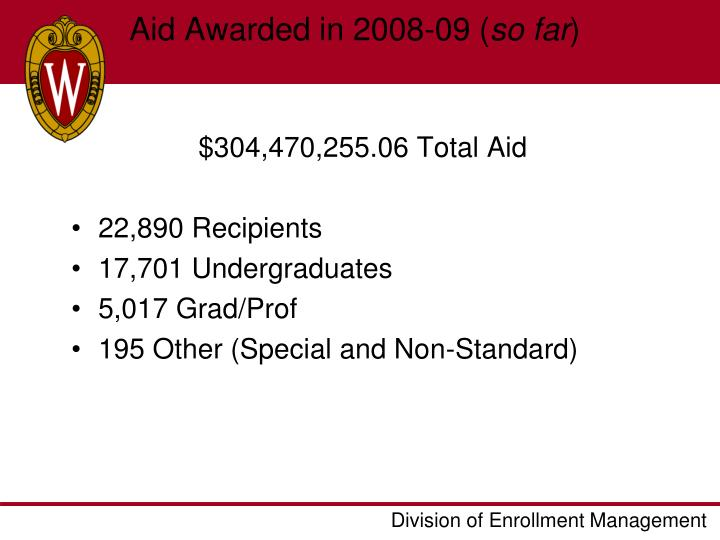 Aid Awarded in 2008-09 (