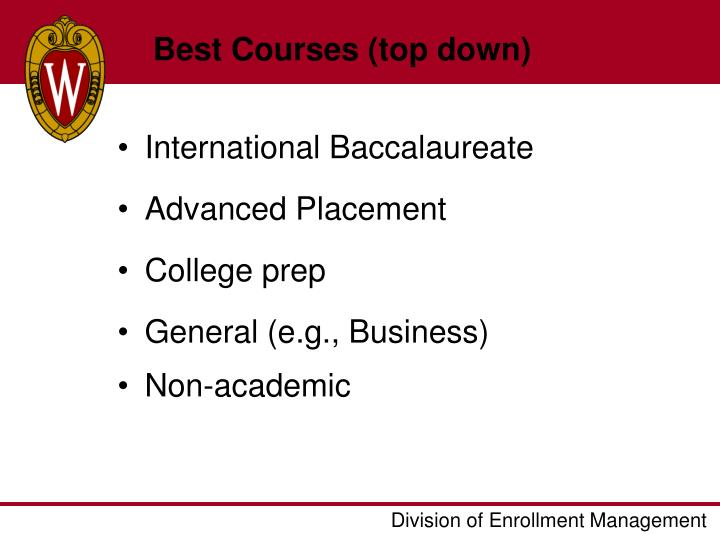 Best Courses (top down)
