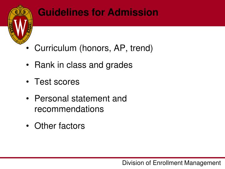 Guidelines for Admission