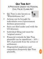 qui tam act a provision under the federal civil false claims act