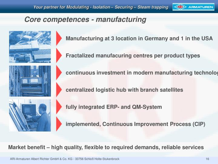 Manufacturing at 3 location in Germany and 1 in the USA