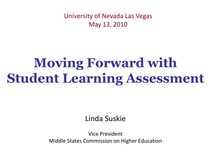 moving forward with student learning assessment n.