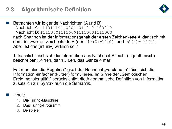 2.3	Algorithmische Definition